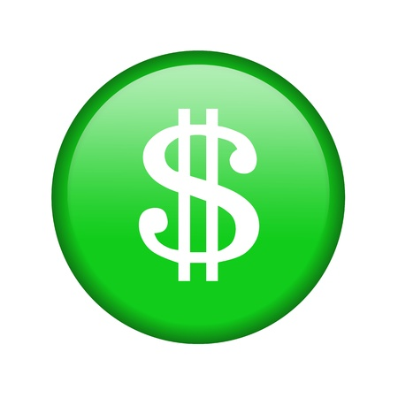 one us dollar coin: Glossy icon with a dollar sign