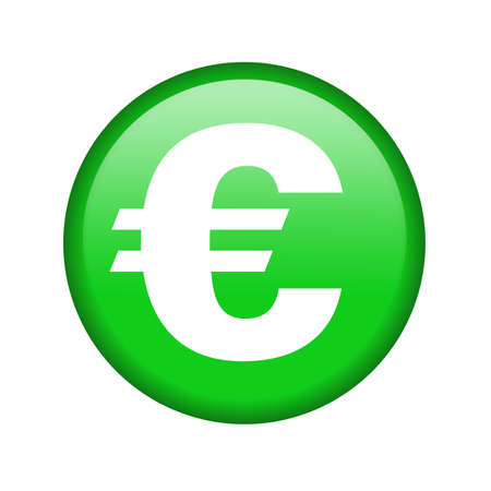 Glossy icon with a euro sign   photo