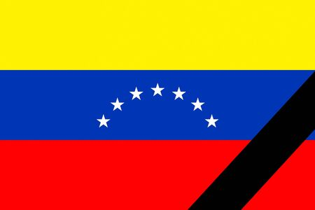 The Venezuelan flag in mourning style photo