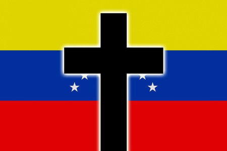 memory loss: The Venezuelan flag in mourning style Stock Photo