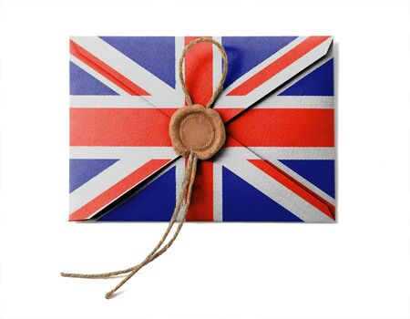 The British flag on the mail envelope. Isolated on white. photo