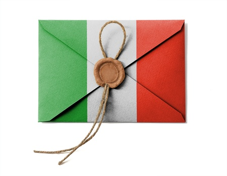 The Italian flag on the mail envelope. Isolated on white. photo