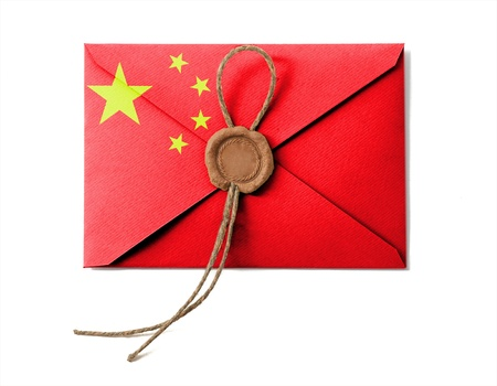 The Chinese flag on the mail envelope. Isolated on white. photo