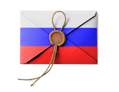 The Russian flag on the mail envelope. Isolated on white. photo