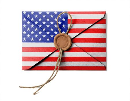 The USA flag on the mail envelope. Isolated on white. photo