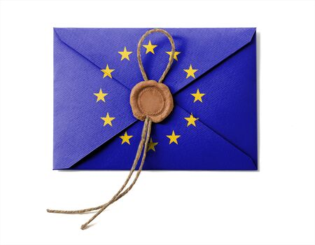 The European Union Flag on the mail envelope. Isolated on white. photo