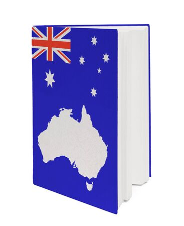 Book with the national flag Australia and contour of  on cover. photo