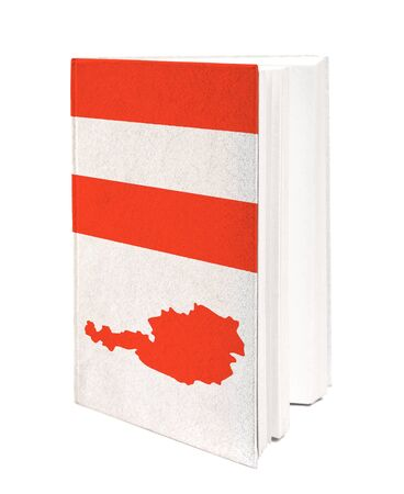 Book with the national flag and contour of Austria on cover. photo