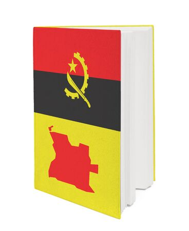 Book with the national flag and contour of Angola on cover. photo