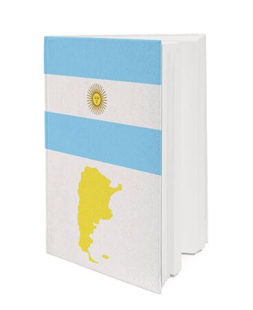Book with the national flag and contour of Argentina on cover. photo