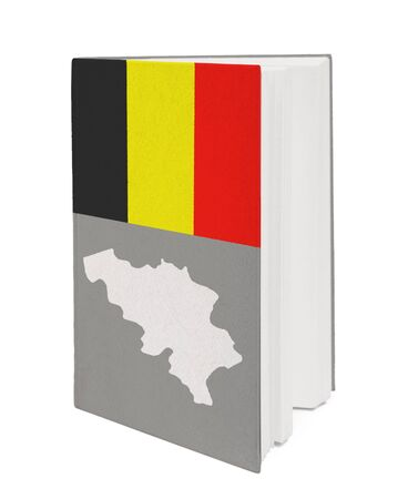 Book with the national flag and contour of Belgium on cover. photo