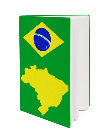 Book with the national flag and contour of Brazil on cover. photo