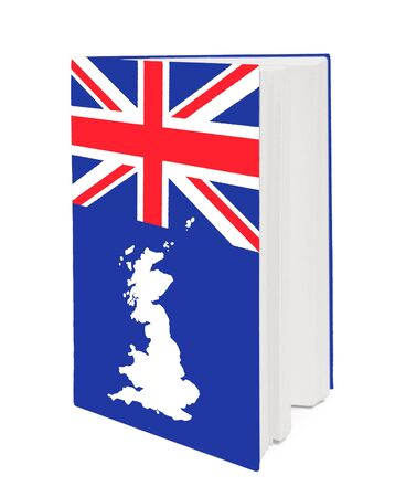 english culture:  Book with the national flag and contour of Britain on cover. Stock Photo