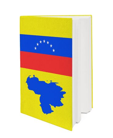 Book with the national flag and contour of Venezuela on cover. photo
