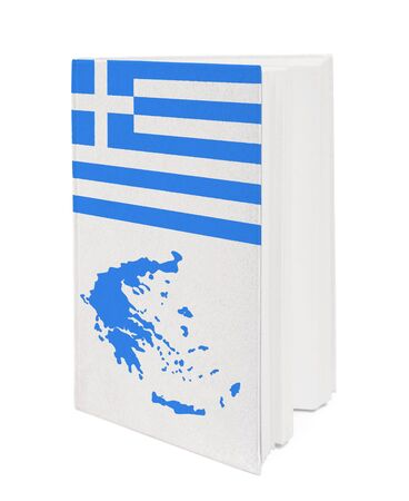 Book with the national flag and contour of Greece on cover. photo
