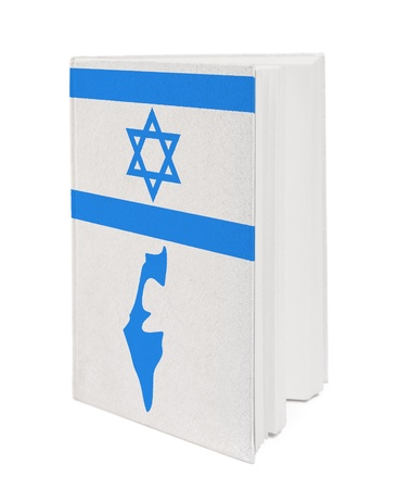 Book with the national flag and contour of Israel on cover. photo