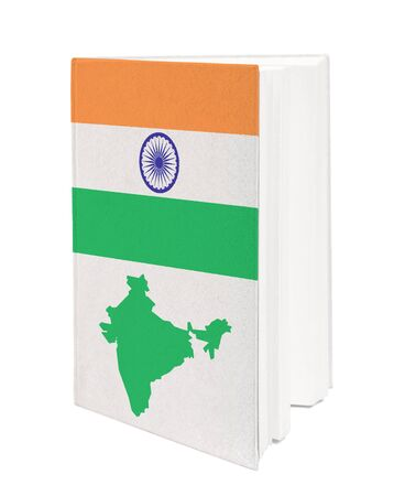 Book with the national flag and contour of India on cover. photo