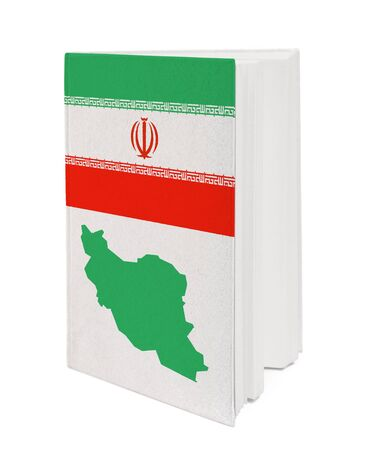 Book with the national flag and contour of Iran on cover. photo