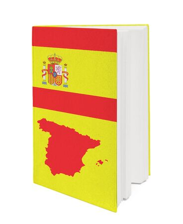 Book with the national flag and contour of Spain on cover. photo