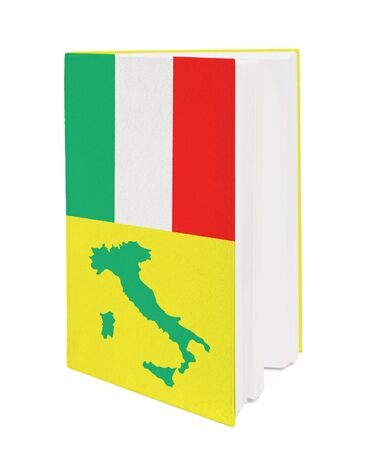 Book with the national flag and contour of Italy on cover. photo
