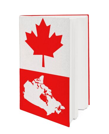 Book with the national flag and contour of Canada on cover. photo