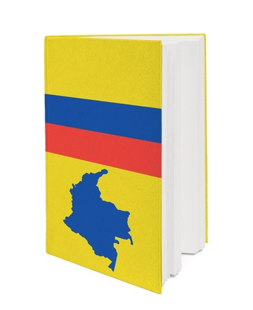 Book with the national flag and contour of Colombia on cover. photo
