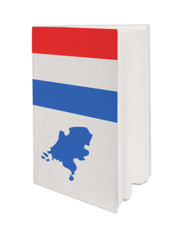 Book with the national flag and contour of Netherlands on cover. photo