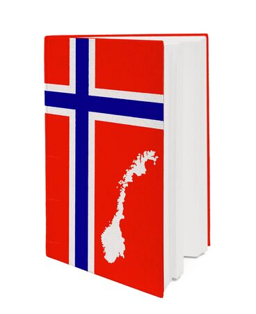 Book with the national flag and contour of Norway on cover. photo
