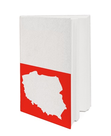 Book with the national flag and contour of Poland on cover. photo