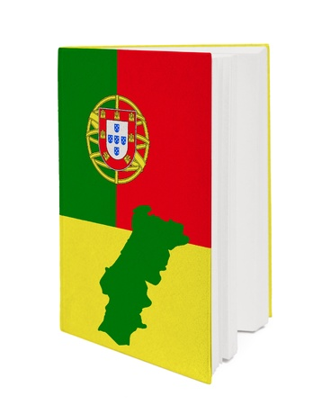 Book with the national flag and contour of Portugal on cover. photo