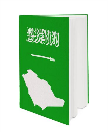 Book with the national flag and contour of Saudi Arabi photo