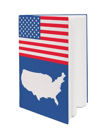 Book with the national flag and contour of USA on cover. photo