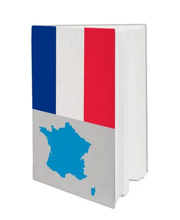 Book with the national flag and contour of France on cover. photo