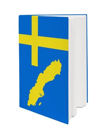 Book with the national flag and contour of Sweden on cover. photo