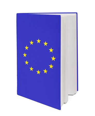 Concept. Book with the EU flag and contour of  on cover. photo