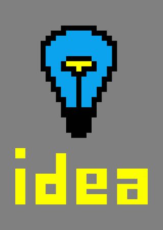 Pixel art  Blue light bulb photo