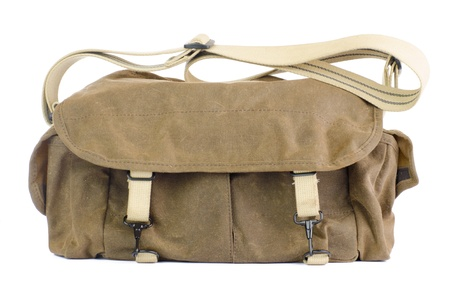 leren tas: Vintage, lederen zak op een geïsoleerde witte achtergrond