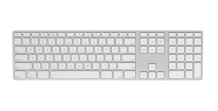 Gray keyboard isolated on white background  Closeup, top view  photo