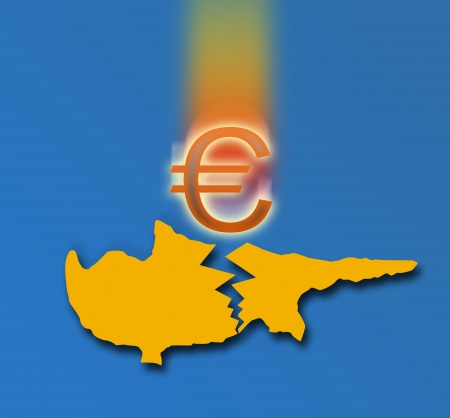 euromoney: Broken silhouette of Cyprus and the falling Euro sign  On blue background Stock Photo