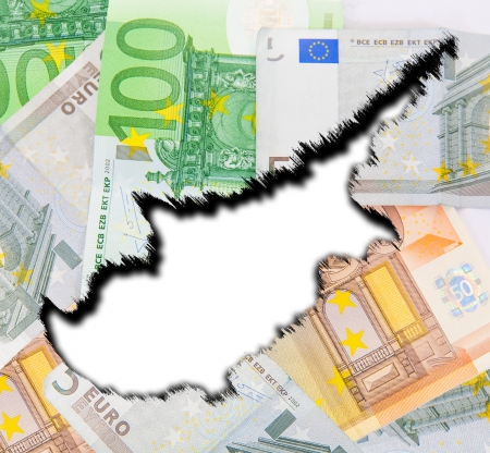 euromoney: The silhouette of Cyprus on the background of ragged euro money  Stock Photo