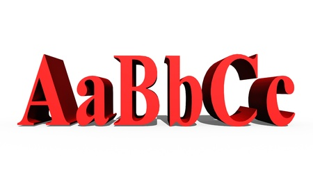 ABC alphabet letters  Red color  3d render photo