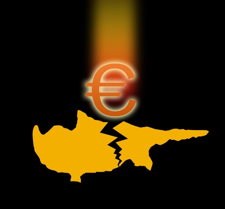 euromoney: Broken silhouette of Cyprus and the falling Euro sign  On black background Stock Photo