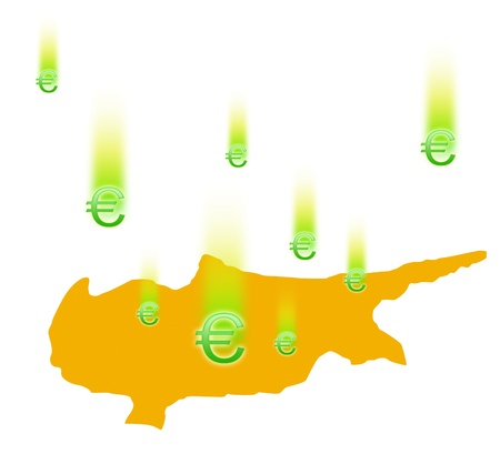 euromoney: The silhouette of Cyprus and falling signs the Euromoney  On white background