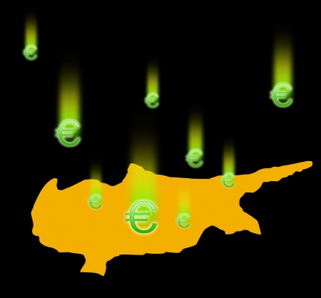 euromoney: The silhouette of Cyprus and falling signs the Euromoney  On black background