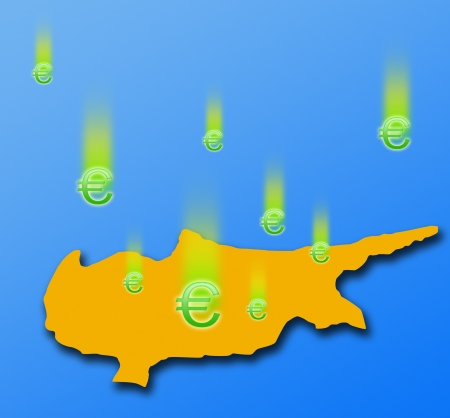 euromoney: The silhouette of Cyprus and falling signs the Euromoney  On blue background