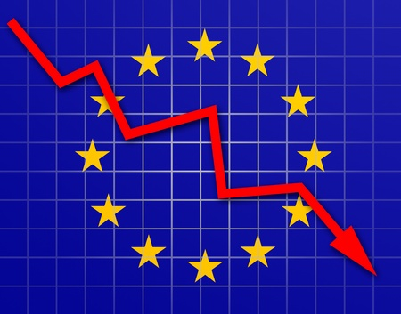The European Union Flag and arrow graph going down Stock Photo - 18659015