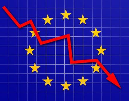 The European Union Flag and arrow graph going down Stock Photo - 18659015