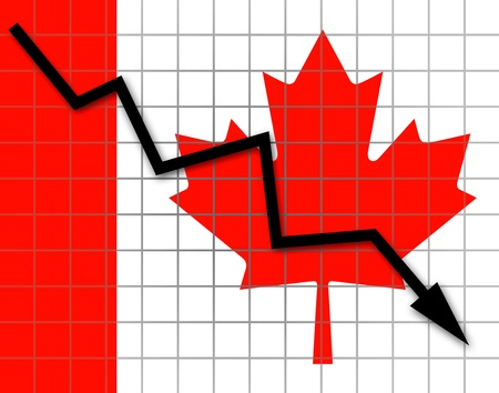 The Canadian flag and arrow graph going down Stock Photo - 18658965
