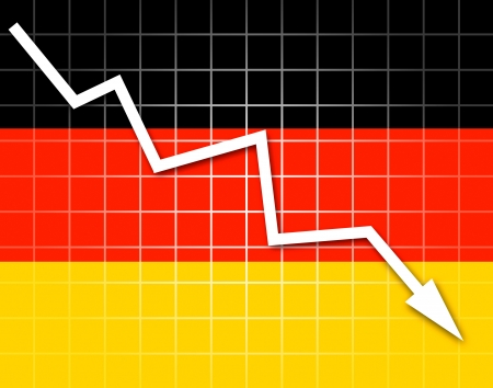 going down: The German flag and arrow graph going down