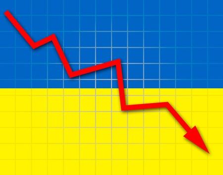 The Ukrainian flag and arrow graph going down Stock Photo - 18658968